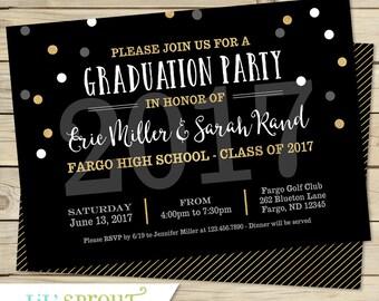 Printable Graduation Invitation - Joint Graduation Party Invitation-  DIY Open House Graduation Invitation - Class of 2017 - Black Gold