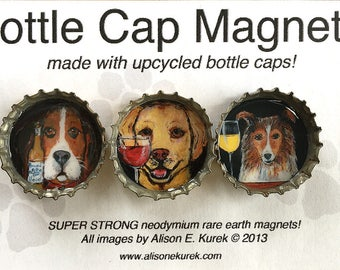 Funny Dog Magnets - Dogs with Wine and Beer - Bottle Cap Magnets - Packaged Gift Set - Basset Hound - Yellow Labrador -Collie - Sheltie