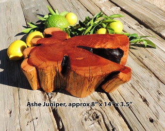 Natural Ashe Juniper wood Cutting Board or Serving Platter, Thick live edge log slab, FREE shipping!