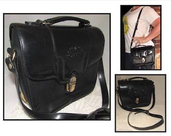 Vintage Black Leather Shoulder Crossbody Bag, Convertible Top Handle Purse, Handbag by Romaity Italy