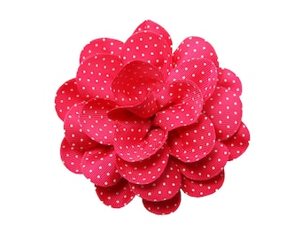 FLOWER ONLY: Large Hot Pink Grosgrain Flower with Dots ~ Removable Dog Collar Add-on