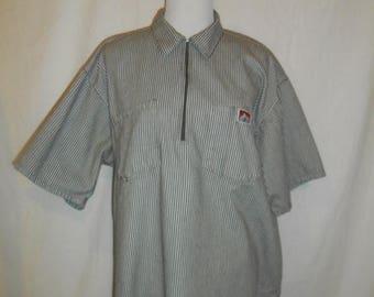 Closing Shop Sale 45% Off Ben Davis Monkey Brand Front Zip Collar Brown White Stripe Shirt Mens