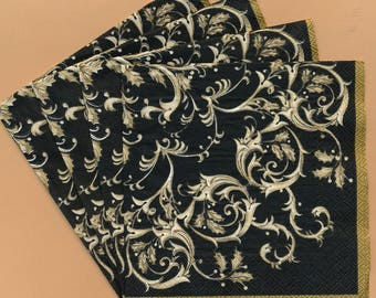 PN120 Paper Napkins by Mesa Fina ~ 5x5 ~ Black & Gold Fleur de Lis ~ Set of 4