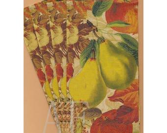 PN092 Paper Napkins by Hoffmaster ~ 4.5 x 8 ~ Fruit Splendor Apples Pears ~ Set of 4