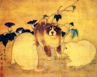 PR-194 Artistic Ephemera Print ~ One 8x10 or Two 5x7s ~ Ancient Japanese Art 'Adorable Chubby Chow Puppies'
