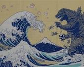 Japanese Gift Godzilla Fabric Kaiju Tenugui 'Godzilla & Hokusai's Great Wave w/Sakura' Hokusai Japan Gojira Cotton w/Free Insured Shipping