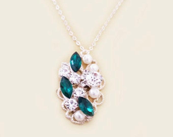 Vintage Emerald Marquise Pearl Necklace with Sterling Chain