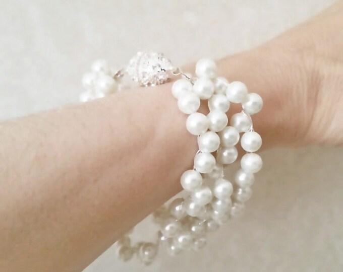 Chunky Pearl Wedding Bracelet with Rhinestone Closure