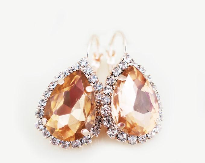 Orange Crystal Drop Earrings