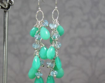 Topaz and Chrysoprase Hammered Sterling Silver Cascade Earrings