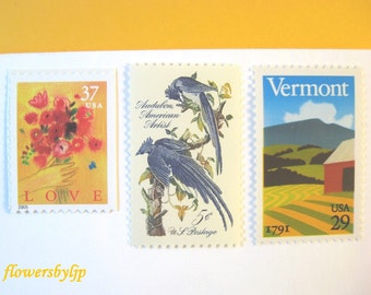 Vermont Wedding Postage 2018 71c, Love Red Bouquet - Farm Mountain - Blue Birds Stamps, Mail 20 Wedding Invitations gold rustic postage 2 oz