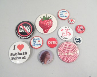 Vintage set of button pins, lot of pins, collectible pins