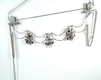 Vintage bohemian belt, moon belt, beaded belt, indian belt, festival belt, crescent moon with dangling beads, gypsy belt, adjustable