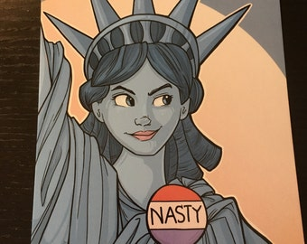 Nasty Lady Liberty Postcard (Item 09-374)
