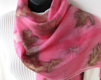 Hand Dyed Silk Scarf Eco Print Pink Scarf for Women Unique scarf gift for her wearable fiber art oak leaves spring scarf summer scarf