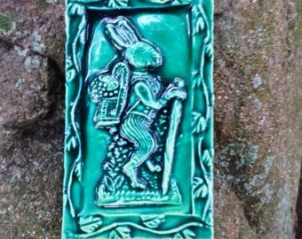 Green Storybook Rabbit Tile