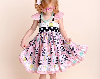 Baby Panda Dress - Baby Dress-  Panda Bear Dress- Toddler Animal Dress -  Panda Outfit - Baby Birthday Dress -  Party Dress  - Toddler Dress