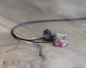 Watermelon tourmaline & silk necklace - raw crystal nuggets floating on black silk - raw gemstone jewelry - tourmaline choker
