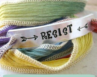 FLASH SALE thru March 27, Resist Bracelet, silk ribbon wrap, Rainbow Bracelet, lgbtq, protest, 30 ribbon colors, free shipping, usa only