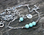 20% OFF Today Soft blue Mexican turquoise sterling silver beaded minimalist necklace