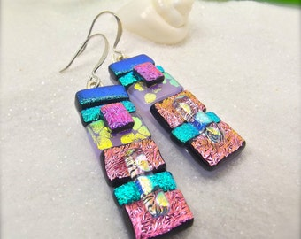 Statement earrings, dichroic earrings, handmade gift, dichroic, artisan jewelry, pink earrings, accessories, trending now, handcrafted, ooak