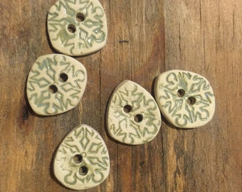 FREE SHIPPING Set of 5 Handmade Ceramic Buttons - Snowflakes