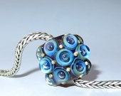 Luccicare Lampwork Bead - Bubbles - FOCAL -  Lined with Brass