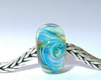 Luccicare Lampwork Bead - Nebula I -  Lined with Sterling Silver
