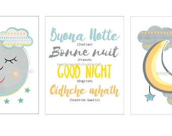 Sweet Dreams Art, Goodnight Art, Moon and Stars Art for Neutral bedding Decor, Neutral wall decor for baby nursery, Gender neutral art