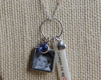 Name tag birthstone photo charm necklace with sterling heart and birthstone charm