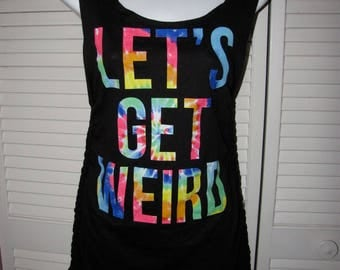 black rainbow tie dye Lets Get Weird backless shredded tunic micro mini dress cover up one size fits most