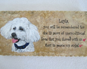 Pet Memorial Stone Original Hand Painted 12 x 6 inches Made to Order Poodle by Shannon Ivins