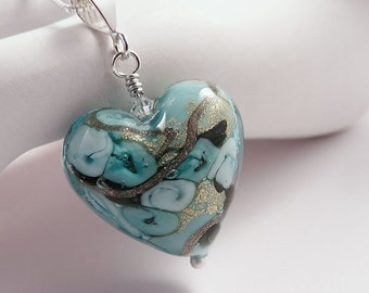 Blue and Gold Murano Glass Heart Pendant on Sterling Silver Chain, Mother's Day Gift for Her, Aqua Bed of Roses Design, Romantic Design