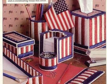 Patriotic Desk Set ~  plastic canvas pattern  ~  Leisure Arts