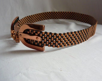 Vintage RENOIR Copper Cinch Belt / 1940s 50s Signed Very Collectible / Metal BASKET WEAVE Pattern / Small Waist 26 to 30 Inch