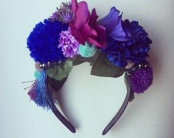 Pom Pom Tassle Floral Flower Crown Festival Head Dress Hair Band