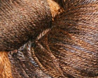 Acorn in Hand Dyed Poet Seat Fingering Weight Superwash Merino and Silk Yarn