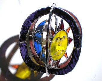 Sunshine and Moonshine - Stained Glass 3D Sphere - Mini Purple Sun Moon Star Home Decor Suncatcher Hanging Ornament (READY TO SHIP)