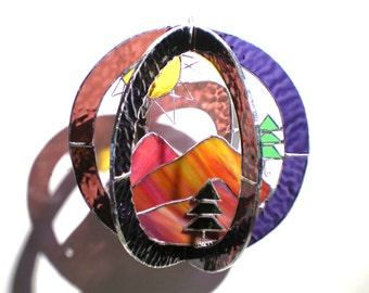 Sunset Ridge - Stained Glass 3D Sphere - Medium Mountain Nature Suncatcher Round Art Hanging Sculpture Yellow Sun Evergreens (READY TO SHIP)