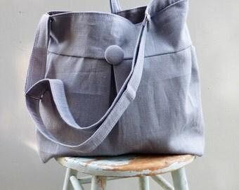 Grey Diaper Bag Large - Grey Hobo Bag - - 7 Pockets Key Fob - Zippered Pocket