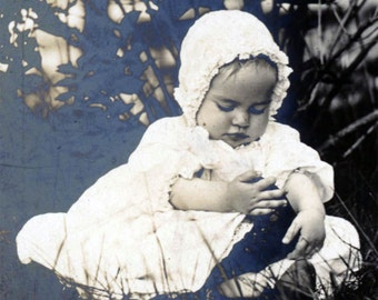 vintage photo 1911 Beauty Baby Sits in Grass Getting to Know her Shoe Foot