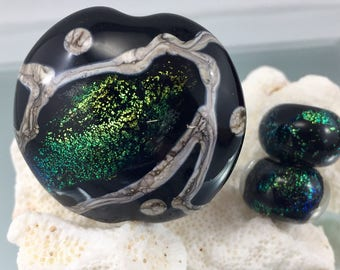 lampwork bead set, Dichroic glass beads, lampwork focal bead, artisan crafted glass bead, sra lampwork