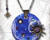 Outer Space Galaxy Necklace - Purple Cobalt Reversible Art Glass - Symbolz SHIMMERZ- Ancient Mysteries Collection - Floating Planetarium