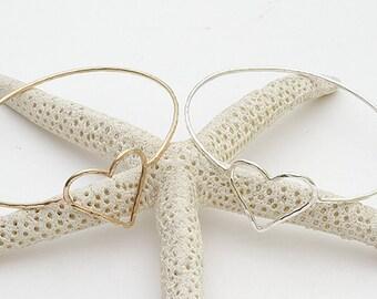 aloha bangle - heart hammered soldered wire bangle, modern bangle, hawaii jewelry, kailua jewelry