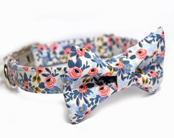 Floral Bowtie Dog Collar, Rosa Periwinkle Bowtie Collar, Wedding Dog Collar, Rosa in Periwinkle