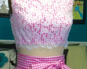French lace and pink gingham midriff top. Handsewn lace overlay on pima cotton gingham.