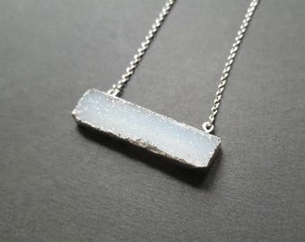 Silver Necklace with White Druzy Pendant - Natural Druzy