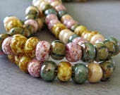 32/0 Aged Pink Stone Czech Glass Picasso Mix : 6 Inch Strand Picasso Large Hole Seed Beads