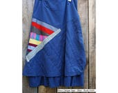 Long skirt grey with appliqué cotton patches size 40 #169