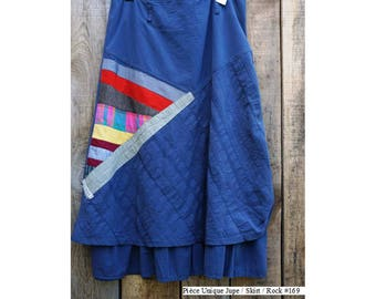 Long skirt grey with appliqué cotton patches size 40